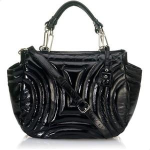 516395683 Cynthia Rowley Black Penny Gloss Patent Embossed Tote Bag ...