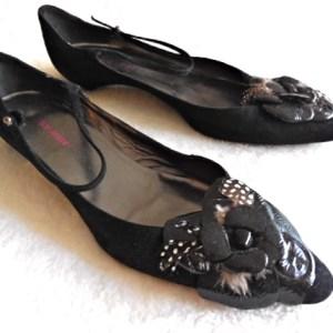 Giorgio Armani Black Suede Flower Kitten Heel Flats