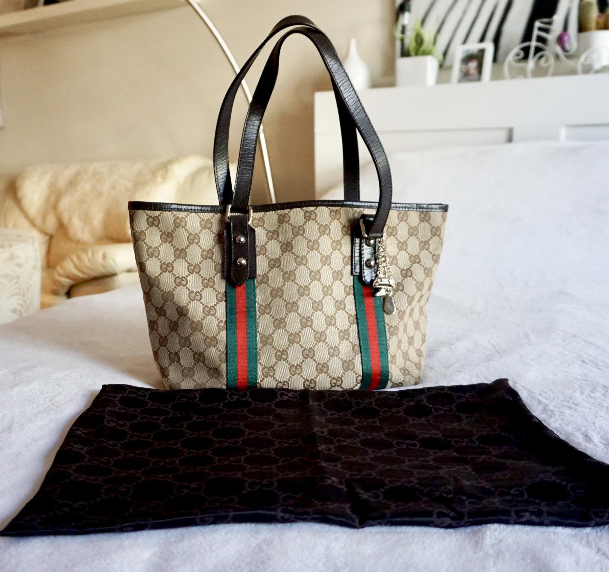 f7106936976 Gucci GG Canvas Charm Tote Bag - Luxurylana Boutique