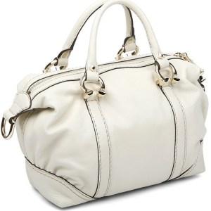Gucci Ivory Leather Boston Handbag