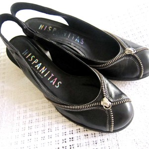Hispanitas Black Leather Slingback Sandals
