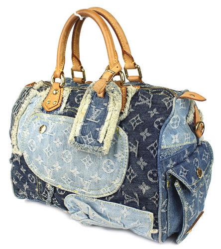 41c2bfb4ebf6 Louis Vuitton Blue Denim Patchwork Speedy 30 Handbag - Luxurylana ...
