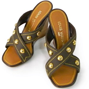 Louis Vuitton Brown Canvas Mule Sandals
