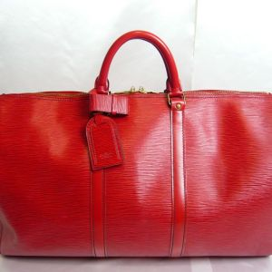 Louis Vuitton Red Epi Keepall 50 Duffel Bag