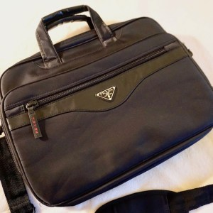 Prada Black Multifolder Business Briefcase