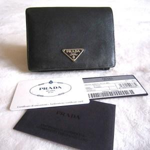 Prada Saffiano Black Leather Bi-Fold Wallet