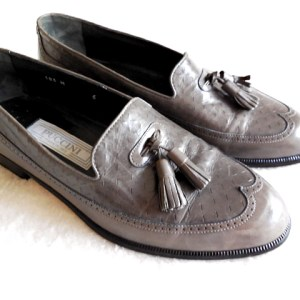 Puccini Grey Leather Oxfords