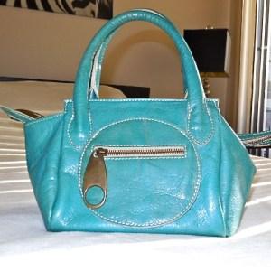 Regina Turquoise Patent Leather Handbag