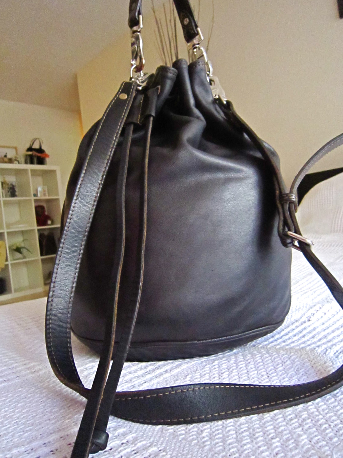 Rugby Black Leather Large Bucket Bag Luxurylana Boutique