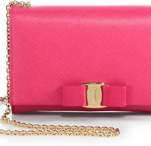 Salvatore Ferragamo Pink Miss Vara Bow Wallet on Chain