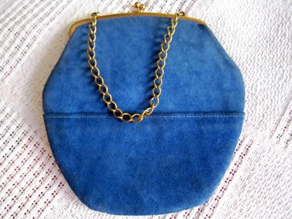 Triangle New York Blue Suede Kiss-Lock Handbag