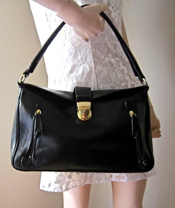 Valentina Black Leather Shoulder Bag-1