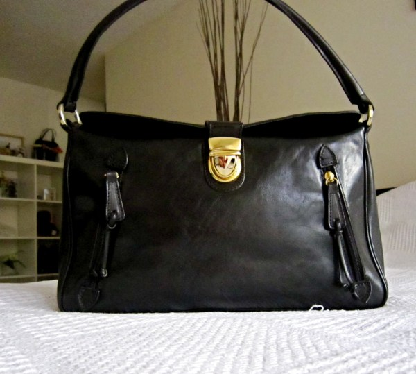 Valentina Black Leather Shoulder Bag