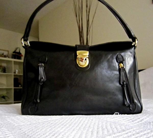 Valentina Black Leather Shoulder Bag