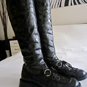 Vic Matie Black Croc Patent Leather Boots