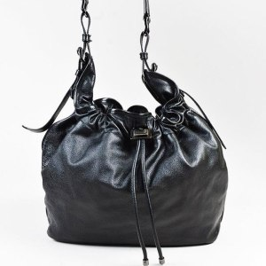 "Burberry Black Leather ""Warrior"" Drawstring Tote"