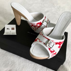 Burberry Red + White Floral Mules