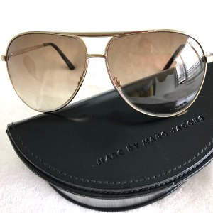 Marc Jacobs Gold + Brown Aviator Sunglasses