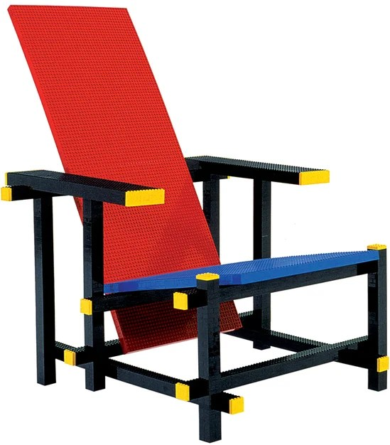 The red and blue Lego chair is expensive to sit on
