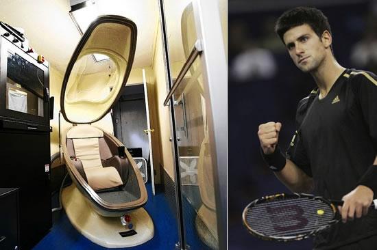 Novak Djokovic steps in the 75000 eggshaped pod to