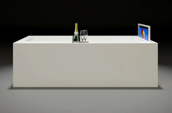 A Bathtub With Invisible Surround Sound HD TV And