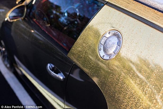 Gold Bugatti Veyron of a Saudi millionaire makes crowds go