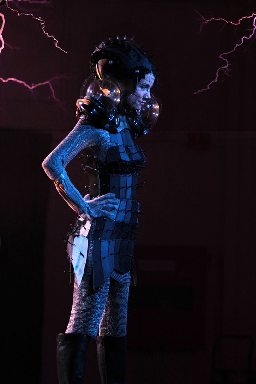 Faraday cage dress  Lets you look good when getting stuck by a million volts of electricity