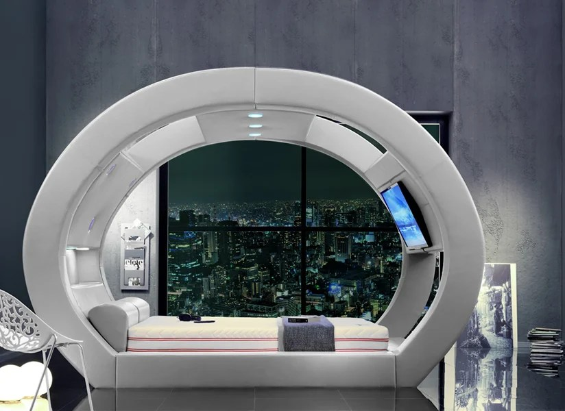 A bed that is futuristic stylish comfortable and is