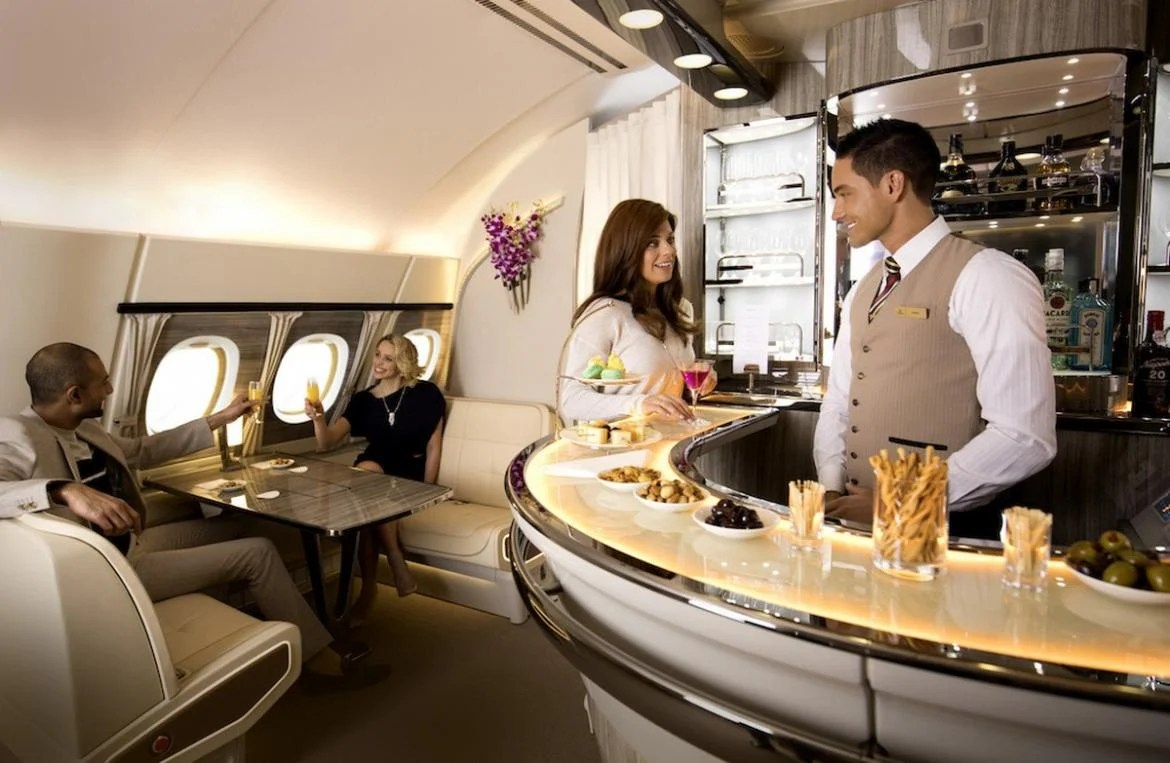 Check out the revamped Business Class bar on the Emirates A380