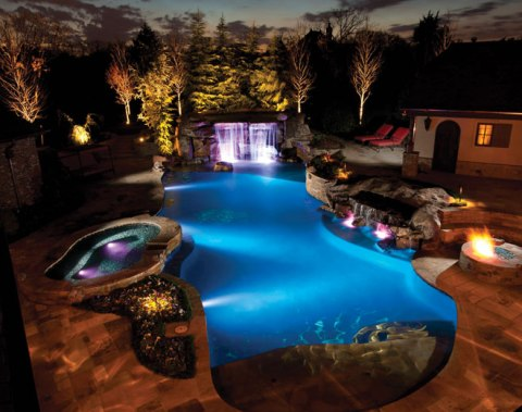 pool and landscape lighting luxury