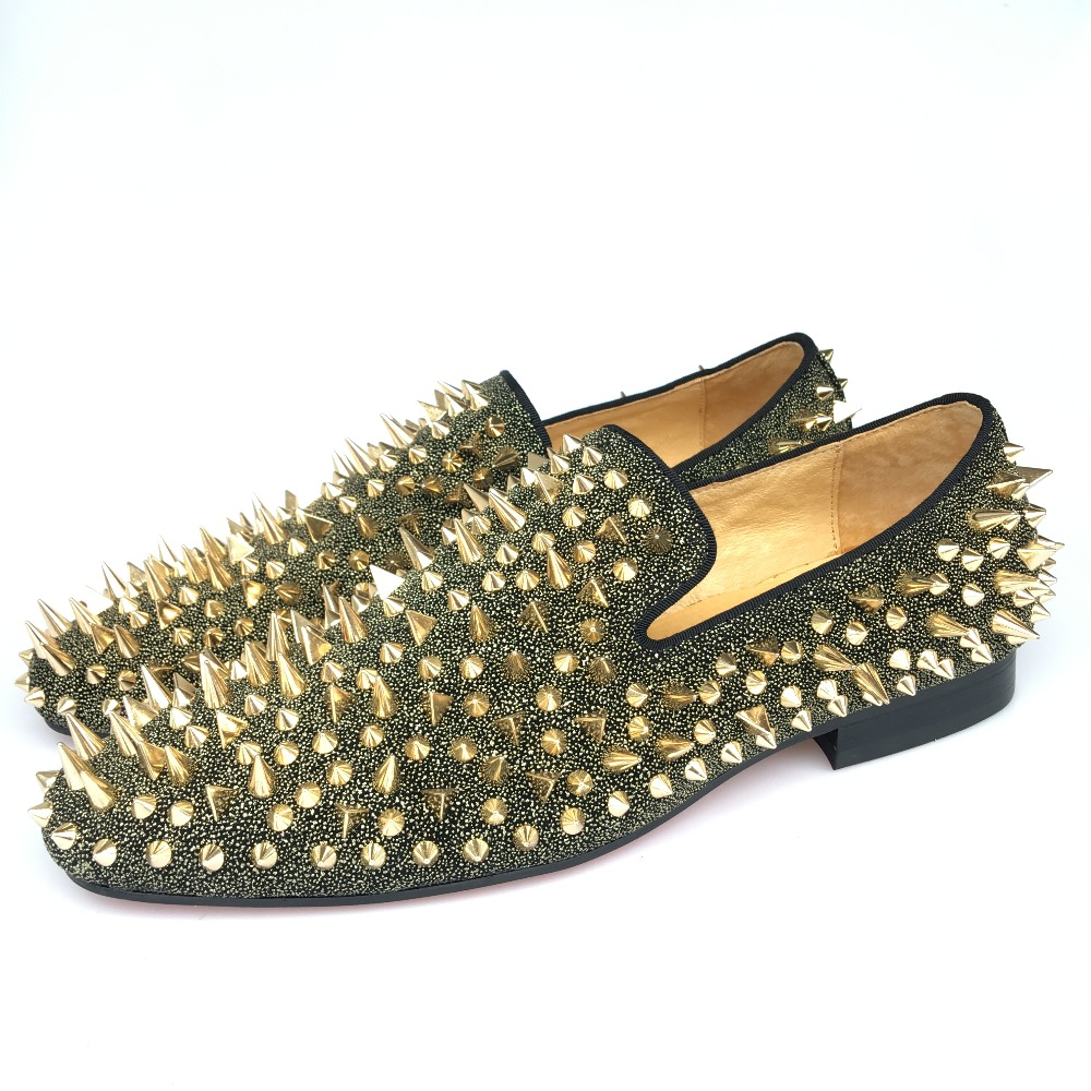 wholesale sales special sales outlet New Fashion Men Party and Prom Shoes Leather Loafers with Gold ...