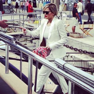 Rita Ora has just arrived on board of the #RobertoCavalli boat #Cannes2014 #CavalliatCannes