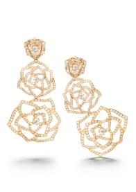 Collection Piaget Rose Boucles d'oreilles en or rose 18 carats serties de 546 diamants taille brillant (env. 4.11 cts).