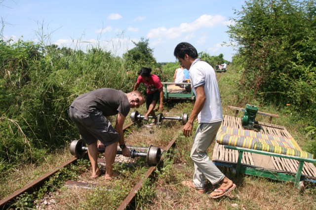 bamboo train, battambang, cambodia, holiday