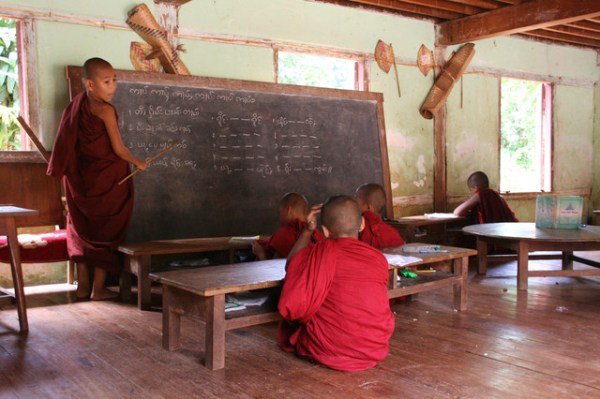 Novice monks in classroom Myanmar