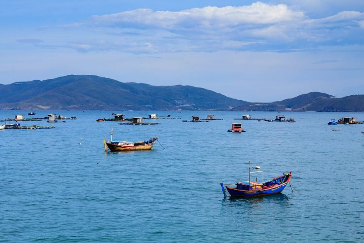 small boats on nha trang beach