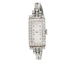 Vintage Rectangular Cocktail Knapp 18k W/g Silver dot dial 14.5mm Manual watch