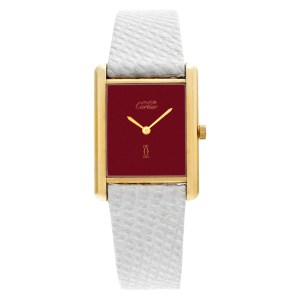 Cartier Tank Vermeil with Brick dial on a white strap 23mm Manual watch