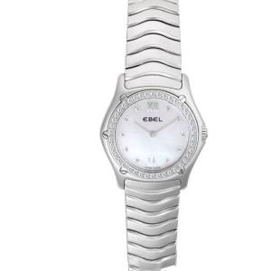 Ebel Sportwave e9157F14 Stainless Steel, MOP dial, diamond bezel  21mm Quartz