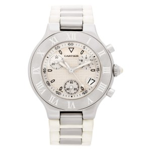 Cartier Chronoscaph 21 w10184U2 Stainless Steel White dial 38mm Quartz watch