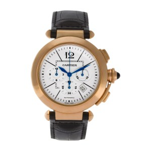 Cartier Pasha Chronograph 42mm w3019951 18k Rose Gold Ivory dial 42mm Automatic