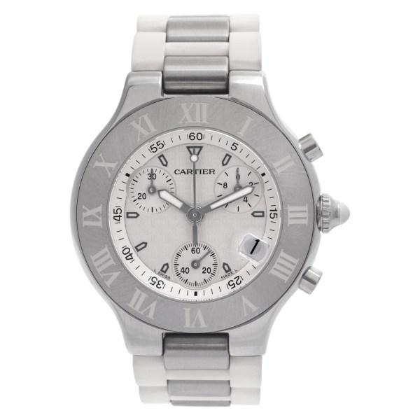 Cartier Chronoscaph 21 w10125U2 Stainless Steel White dial 38mm Quartz watch