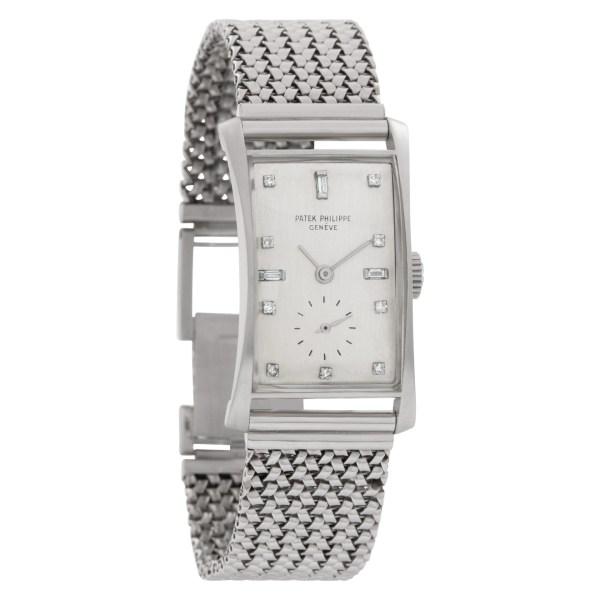 "Patek Philippe Tegola ""Hour Glass"" 1593 Platinum Silver dial 21.5mm Manual watch"