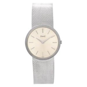 Piaget Classic 9633 18k White Gold Starburst Satin dial 32mm Manual watch