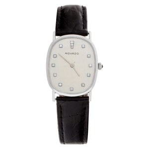 Movado Classic 5120 14k White Gold Ivory dial 27mm Manual watch