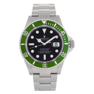 """Rolex Submariner Kermit """"Lime"""" 16610LV Stainless Steel Black dial 40mm Automatic"""