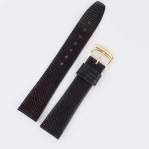 Baume & Mercier dark brown lizard strap with tang buckle (19x16)
