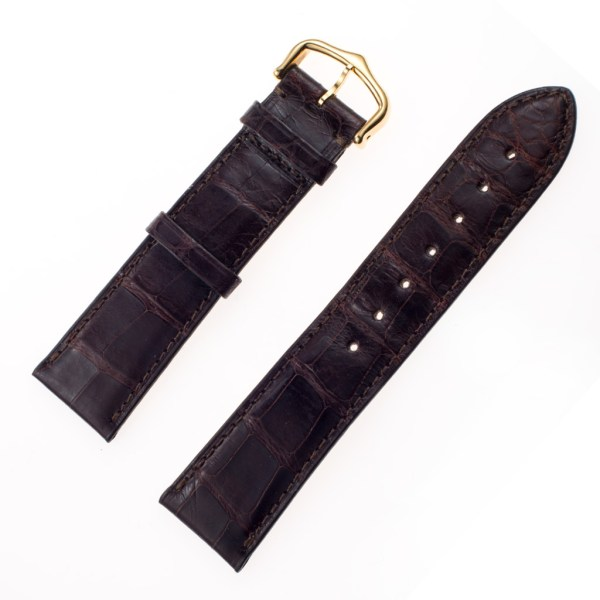 Cartier brown alligator band with 18k tang buckle (20x18)