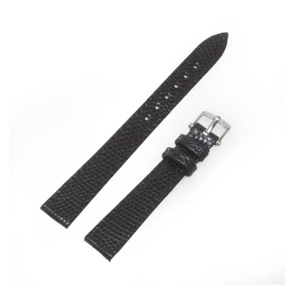 Van Cleef & Arpels black lizard strap with stainless steel tang buckle 12mm x 10mm