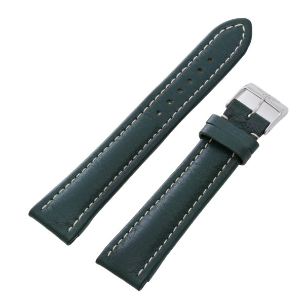 Breitling 22mm x 18mm calf skin green leather strap with stainless steel buckle